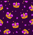 Seamless pattern with cartoon golden king crowns vector image