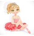 Beautiful ballerina girl in pink dress sit on vector image