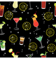Cocktail and lemons party black seamless pattern vector image