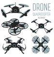 Drone quadrocopter set Drone with action camera vector image