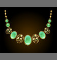 golden necklace with chrysoprase vector image