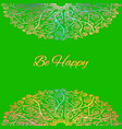 ornamental green card be happy vector image