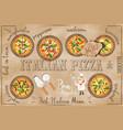 pizza menu in kraft style vector image