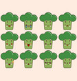 set of kawaii broccoli emoticons isolated on vector image