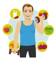 sporty man with dumbbells vector image