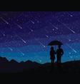 starfall silhouette of couple under umbrella vector image