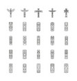 totem icons set outline style vector image