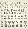 heraldry kit of knight blazons and coat of arms vector image
