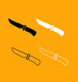 knife of hunter black and white set icon vector image