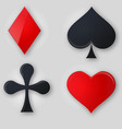 set of shiny card suit icons in black and red vector image