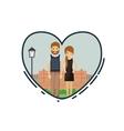 Colorful of couple cartoon inside heart design vector image
