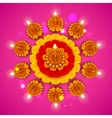 Decorated Diwali Diya on Flower Rangoli vector image vector image