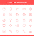 Set of Thin Line Stroke General Icons vector image vector image