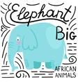 Elephant blue on a white background isolated vector image
