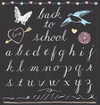 Rustic Chalk Back to School Script Lettering Set vector image
