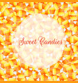a close up background pile of candy corn vector image