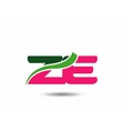 Alphabet Z and E letter logo vector image