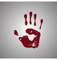 Bloody handprint isolated on white background vector image