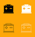 car battery black and white set icon vector image