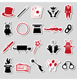 magician and magic theme set of stickers eps10 vector image