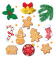 set of christmas gingerbread cookies decorations vector image