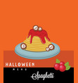 spaghetti halloween menu vector image