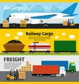 cargo transportation banners logistics sea air vector image
