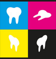 tooth sign   white icon with vector image
