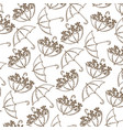 brown silhouette pattern of umbrellas with plants vector image