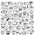 coffee cups - doodles set vector image
