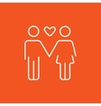 Couple in love line icon vector image