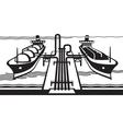 Gas tank terminal with LNG cargo ships vector image
