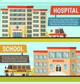 colored municipal buildings banner set vector image