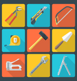 Flat house remodel tools icons vector image