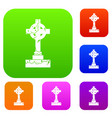 irish celtic cross set color collection vector image