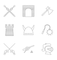 Knight icons set outline style vector image