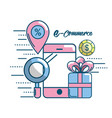 marketing digital to shopping online network vector image