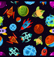 space seamless pattern with spaceships vector image