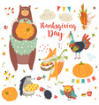 thanksgiving set with cute forest animals vector image