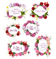 wedding invitation save the date floral frame set vector image