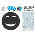 Happy Icon with 1000 Medical Business Symbols vector image