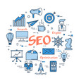 blue round seo concept vector image