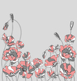 red poppies on a gray background vector image