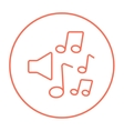 Loudspeakers with music notes line icon vector image
