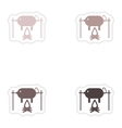 Set of paper stickers on white background pig on vector image