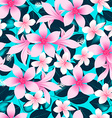 Pink tropical hibiscus flowers with blue leaves vector image vector image