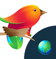 Bird logo with nest and planet vector image