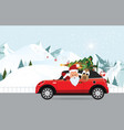 funny santa claus and reindeer is driving a red vector image