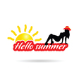 girl with hello summer color silhouette vector image