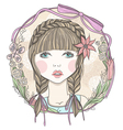 Pretty girl with flowers and butterfly elements vector image